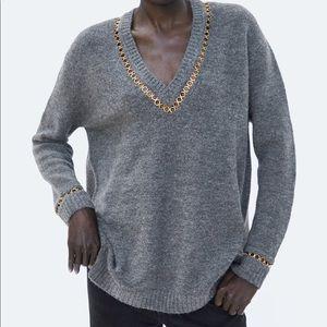Zara Knit Oversized chain sweater